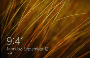 très dépouillée, l'interface d'accueil de windows affiche une photo