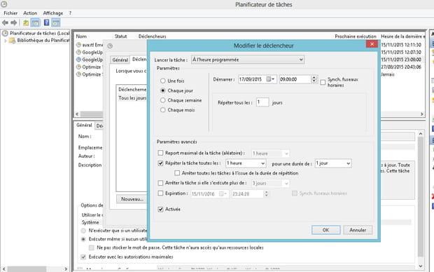 Gérer le planificateur de tâches (Windows)