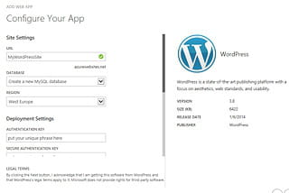 azure propose un configurateur d'installation wordpress.