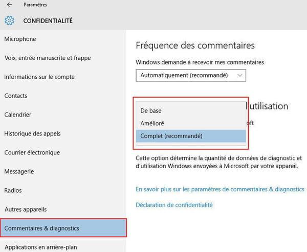 Confidentialité et télémétrie dans Windows 10 : comment limiter ce qui est envoyé à Microsoft