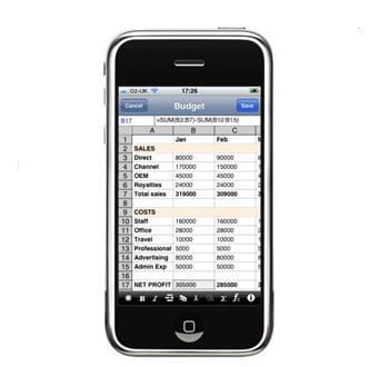l'interface dutableur de softalk dédiée à l'iphone