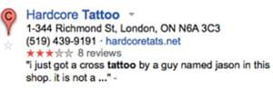 certains résultats de recherche de google places disposent de notes et