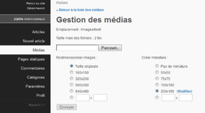copie d'écran de l'interface de gestion média.