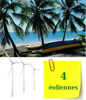 quatre éoliennes sont installées en martinique.