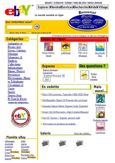la page d'accueil d'ebay, en juin 2001
