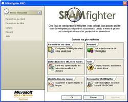 menu principal de spamfighter