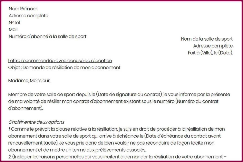 Lettre De Resiliation A La Salle De Sport Modele