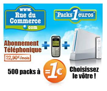 rueducommerce.fr commercialise des packs avec téléphone, abonnement, et un