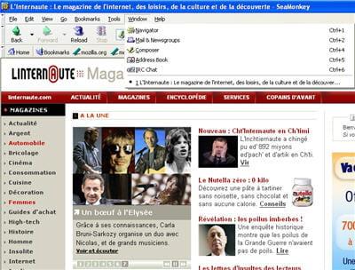 seamonkey : navigateur web, client de messagerie électronique et de forums, html