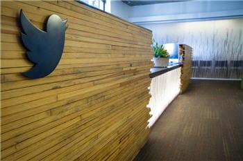 la réception,au siège de twitter, à san francisco.