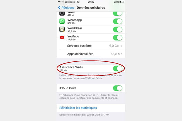 Activer l'assistance WiFi