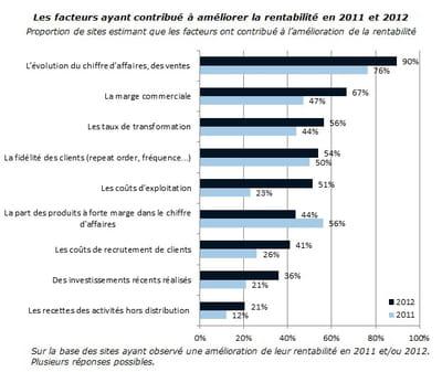 facteurs ayant contribué à améliorer la rentabilité des sites marchands en 2011