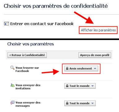 copie d'écran de la fonction 'entrer en contact sur facebook' dans paramètres de