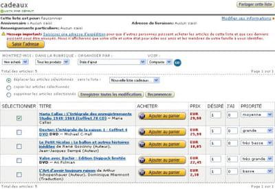 la liste de cadeaux d'amazon.fr
