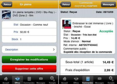 l'application iphone de fnac marketplace