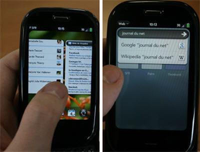 a gauche, la navigation d'un écran à l'autre, à droite, la fonction de recherche