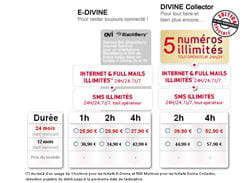 copie d'écran de la grille tarifaire des forfaits e-divine de virgin mobile.