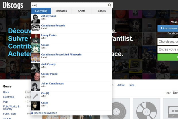 Discogs : des filtres dans le moteur