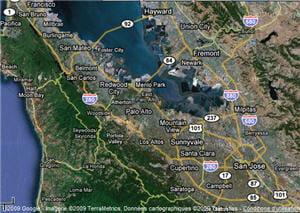 la silicon valley s'étend de san francisco à san jose, en californie