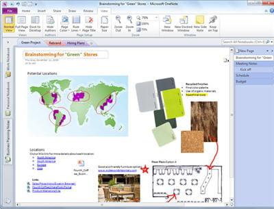 onenote gère tout type de documents :textes, notes, images. on peut les placer