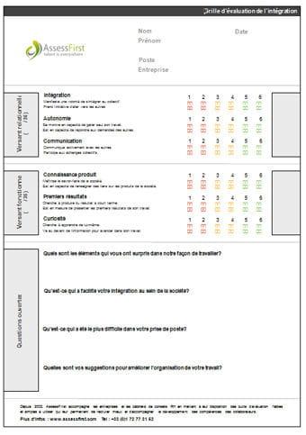 Grille valuation de l 39 int gration mod le gratuit de lettre - Grille d evaluation entretien annuel ...