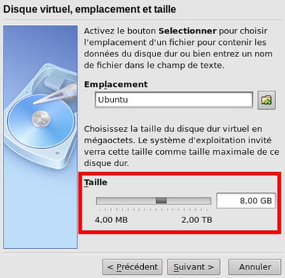 taille du disque dur virtuel - virtualbox