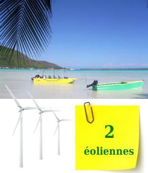 la polynésie francaise compte pour l'instant deux éoliennes sur ses terres.