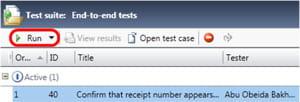 sélectionnez un test et cliquez sur run.