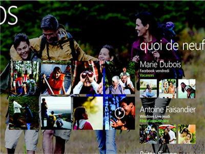le hub photo de windows phone 7, un fond d'écran pris parmi les derniers clichés