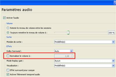 l'option de normalisation du volume sous vlc