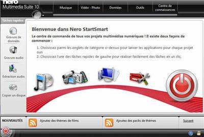 smartstart donne accès à tous les outils de la suite nero. et ce n'est pas