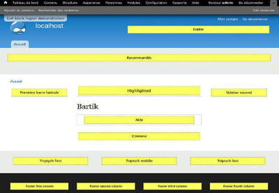 les blocs des pages drupal peuvent facilement être repositionnés via l'interface