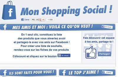 'mon shopping social' de cdiscount propose un bouton 'je veux' ici expliqué