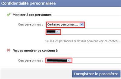 copie d'écran de la fonction confidentialité personnalisée de facebook.