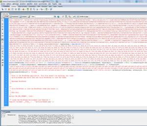 un malware venu s'insérer au début du fichier index.php d'un blog à partir d'un