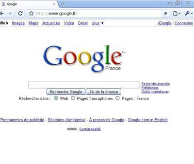 interface épurée à l'image de la page google