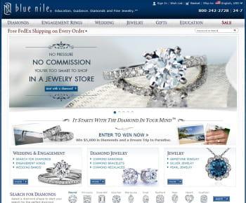 blue nile est le 1er e-marchand us de la catégorie 'bijouterie'