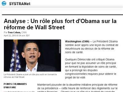 une page du site cnn traduite avec l'outil en ligne systranet