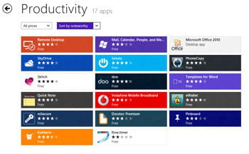 la catégorie 'productivité' de la boutique d'applications de windows 8 propose