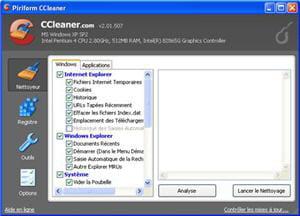 l'interface du logiciel ccleaner dans sa version 2.01