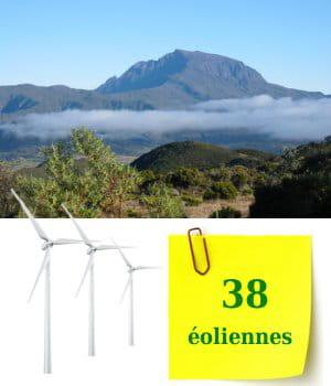 38 éoliennes sont installées sur l'île de la réunion.