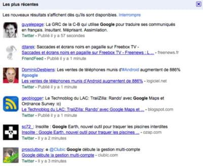 sur certaines requêtes 'chaudes', google affiche des tweets dans ses résultats.