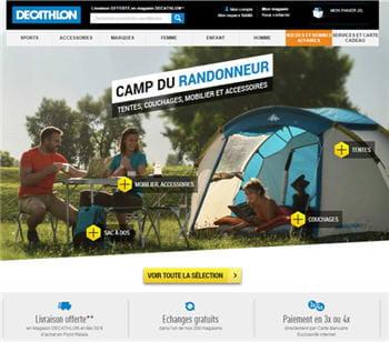 page du site de décathlon fin juin