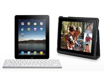 deuxaccessoires pour l'ipad, à savoir le dock avec clavier et la protection