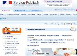 page d'accueil de service-public.fr