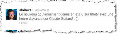 son tweet sur le remaniement.