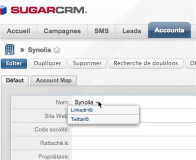 sugarcrm permet de disposer d'une vue intégrée des données provenant des réseaux