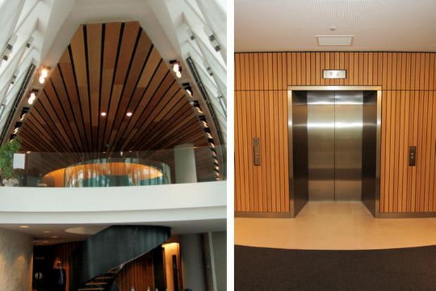 Du bois pour l'espace central du bâtiment