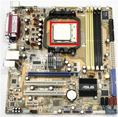 l'emplacement du processeur sur une carte mère