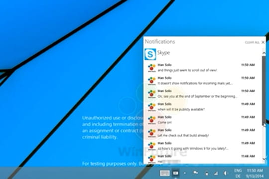Le centre de notifications de Windows 9 0914